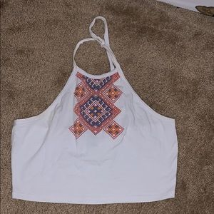 White cropped top with open back